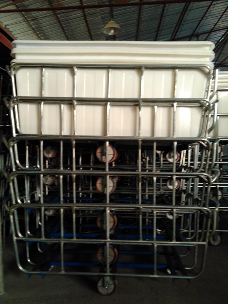兴优力塑胶供应:192*108*77大型印染周转箱推布车,1550L优质耐用针织染色推布车