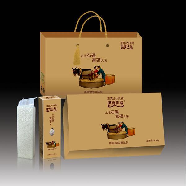 大米供应直供 厂家直供原阳大米 古法石碾富硒大米 伊尊佳福礼盒包装
