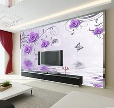 供应 简约无纺布墙纸 客厅电视背景墙壁纸 3D立体植绒花卉卧室壁画