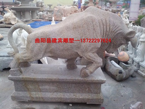 花岗岩石雕牛供应公园摆件