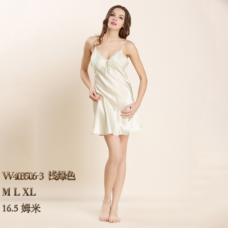 四川顺成纺织品2017真丝性感睡衣女士夏季薄款丝绸桑蚕丝吊带裙W403506