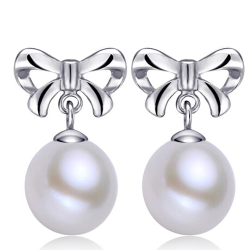 供应 s925纯银珍珠蝴蝶耳环 纯银天然淡水珍珠耳环
