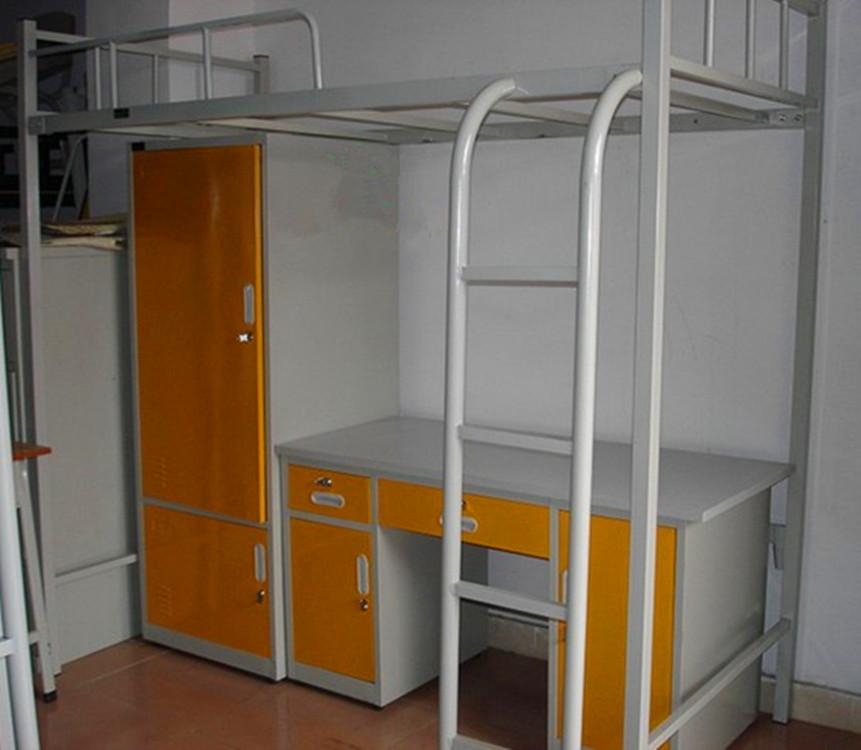 厂家定做上床下桌组合床东莞大学生宿舍单人床学生宿舍公寓铁床尺寸图片