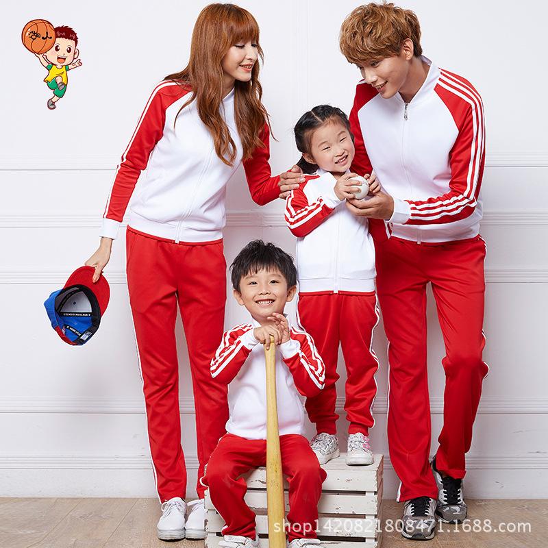 2016秋冬新款韩版修身棒球服一家四口亲子装运动套装立领棒球外套