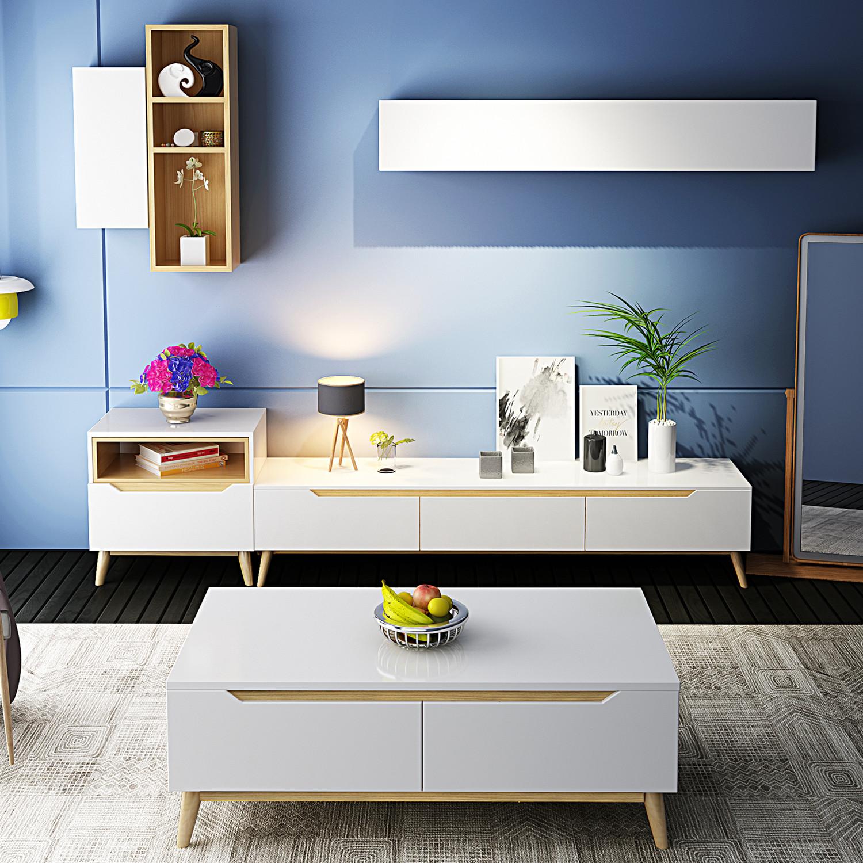 实木北欧简约电视柜组合茶几白色烤漆现代时尚客厅大小户型家具图片