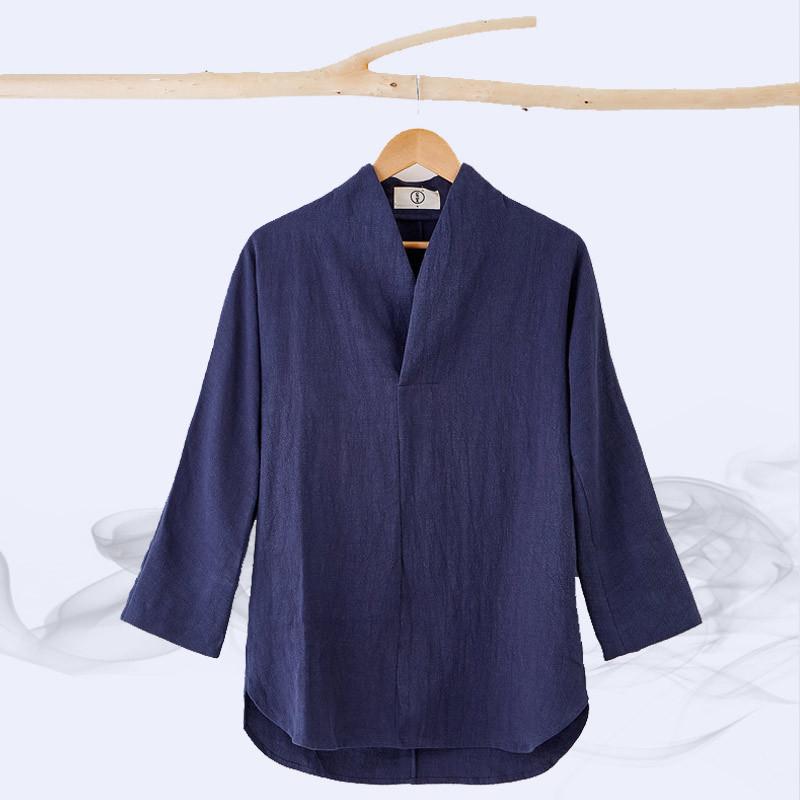 宸贤夏季批发新款中国风亚麻衬衣立领修身唐装汉服中式男式衬衫