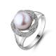 供应 天然珍珠戒指 强光无瑕扁圆珍珠 花瓣形 玫瑰珍珠戒指