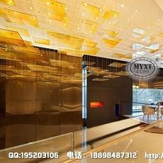 酒店大堂工程吊灯 艺术玻璃装饰吊灯 现代玻璃工程灯 酒店非标工程灯 酒店工程灯定制 酒店灯具设计安装
