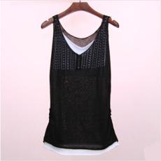2014夏秋新款女装假两件针织镂空打底小背心中长款百搭淑女吊带衫