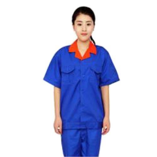 供应夏季蓝色短袖工作服套装女款