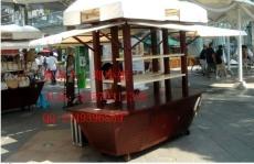 购物广场售货车 木制移动手推车 餐饮小吃车
