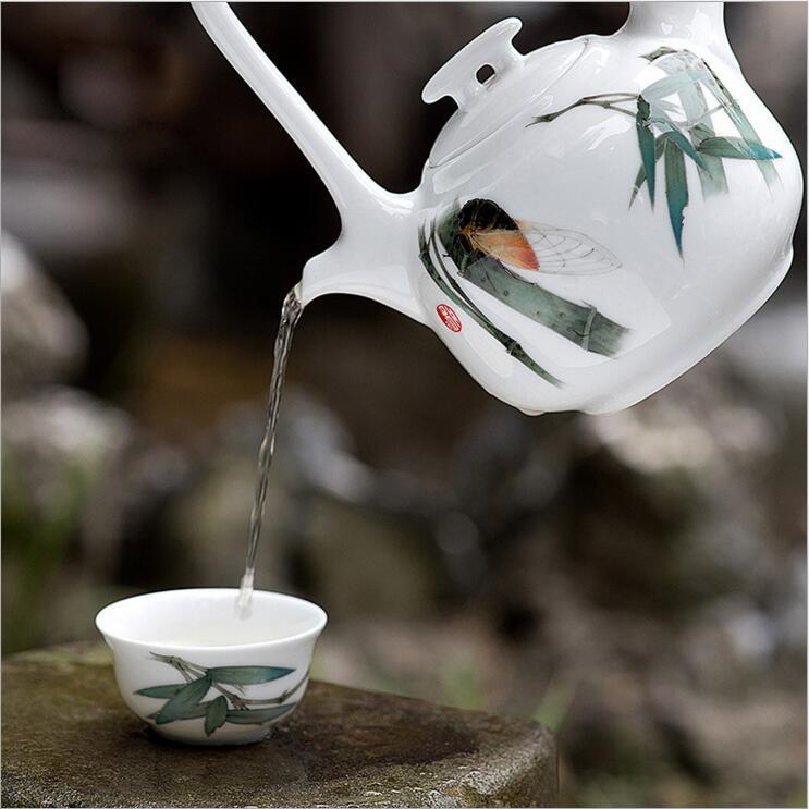 厂家直销提梁壶茶具套装陶瓷茶壶茶杯纯手绘釉下五彩竹韵功夫茶具