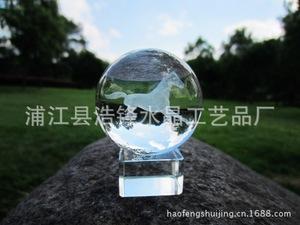 批发水晶内雕马 水晶球内雕马 内雕水晶球马 水晶球内雕