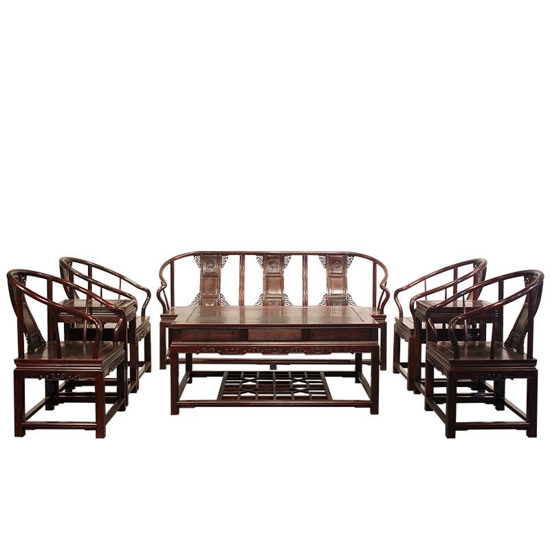 梁丰古典红木家具赞比亚紫檀拐手圈椅八件套沙发厂家直销