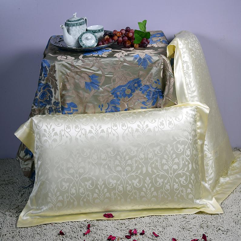 【象牙小花】依格尔 家居床品 双面提花真丝枕套 100%桑蚕丝 单只 信封款 48×74+5cm