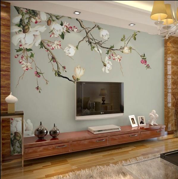无纺布墙纸 中式花鸟玉兰花3d无缝墙布壁画 电视背景图片