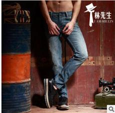 供应林先生牛仔裤 男式韩版修身直筒牛仔裤 水洗棉牛仔裤男士