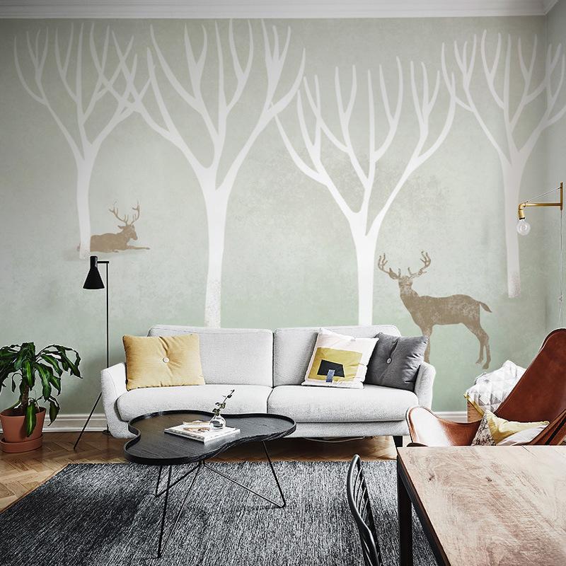 厂家直销大型定制壁画北欧风格墙纸壁纸客厅卧室电视背景麋鹿树林图片