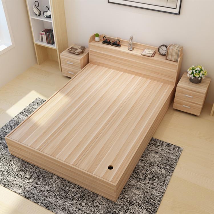 现代简约板式床1.2m1.5米1.8米单人床双人床榻榻米床储物高箱床类图片