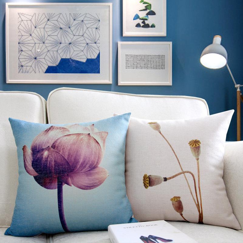 新中式棉麻沙发抱枕荷花复古夏季靠垫靠枕汽车床头居家清爽靠垫套图片