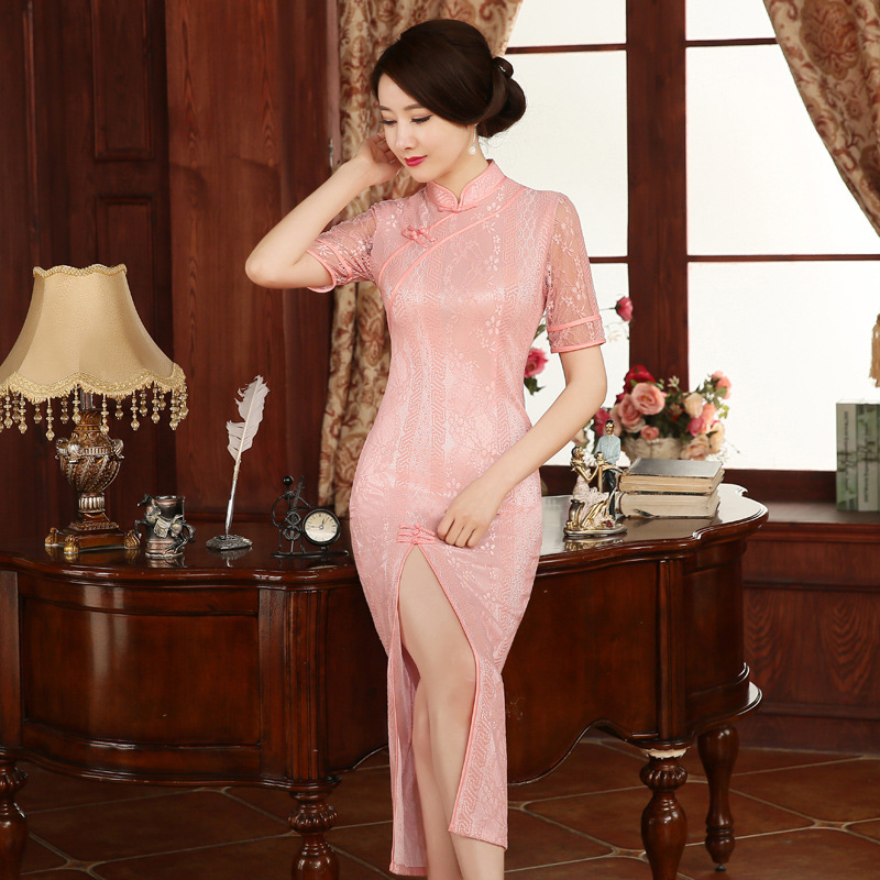 新款长旗袍裙夏粉色蕾丝复古改良修身气质日常旗袍民族风礼服女