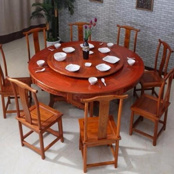 中式实木圆桌餐桌椅 酒店餐桌大圆桌饭店饭桌椅组合明清仿古家具