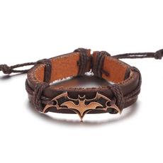 朋克风格编织手镯 欧美外贸饰品 蝙蝠侠合金真牛皮手链批发