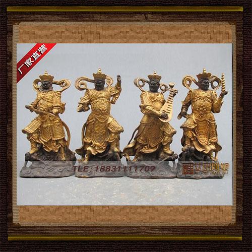 供应  贴金四大天王铜雕神像品牌雕塑  厂家直销