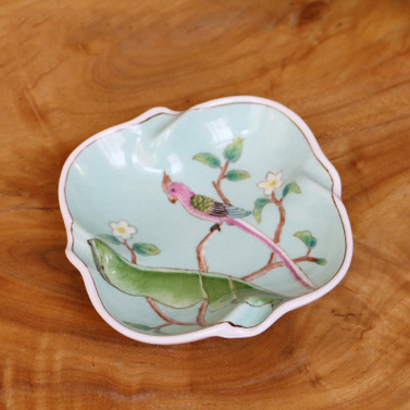 供应绘彩陶瓷螺纹皂碟创意家装饰品陶瓷工艺品浴室用品肥皂盒通用烟缸
