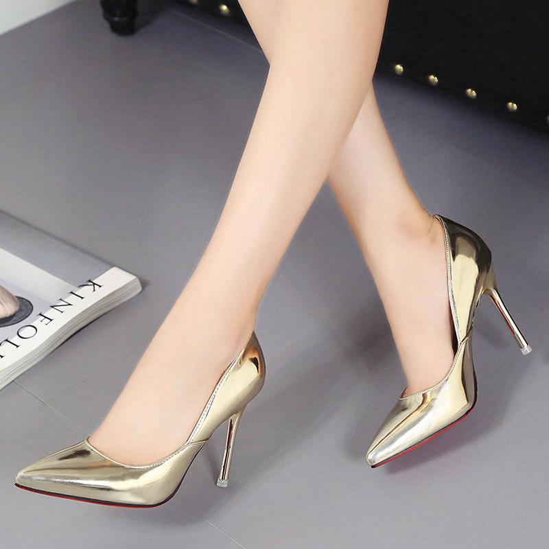 超高跟尖头性感细跟女高跟鞋浅口结婚鞋漆皮拼接女单鞋厂家批发