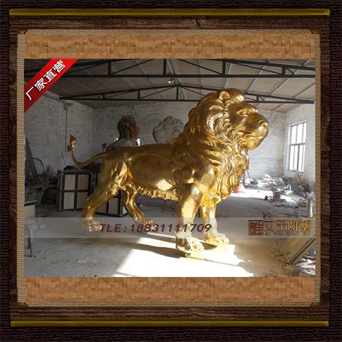 供应  贴金狮子铜雕塑     品牌雕塑   厂家直销