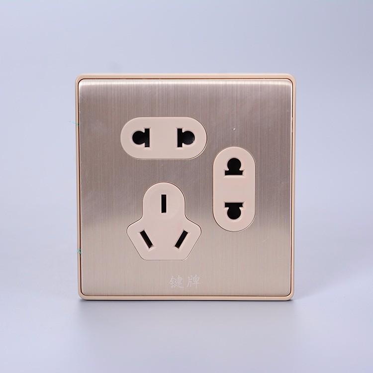 家居酒店会所专用七孔墙壁插座 超长寿命抗氧化二二三极插座