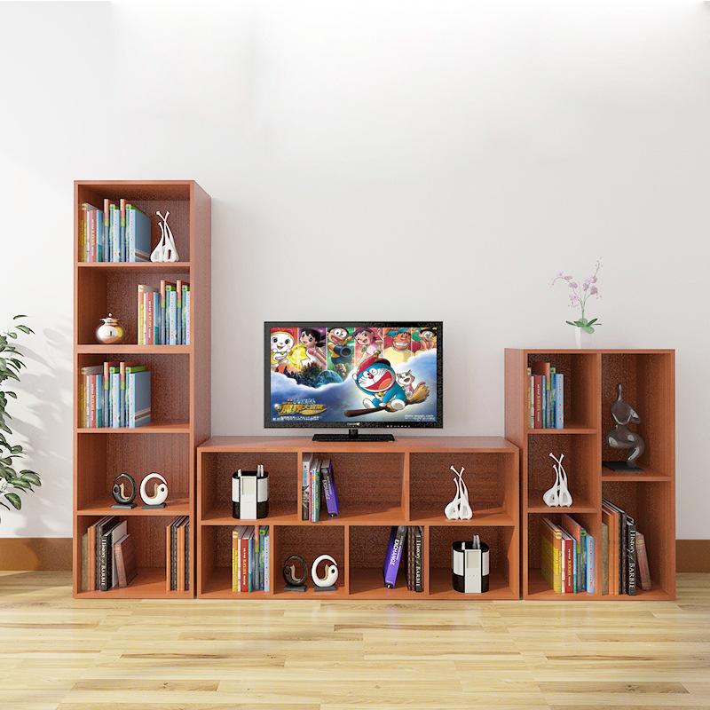 学生书柜书架自由组合简易儿童格子柜小柜子简约现代实木置物架图片
