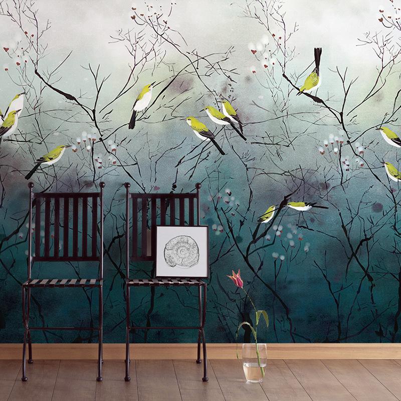 现代中式墙纸电视背景墙花鸟卧室客厅壁画3d墙布影视墙壁纸自粘图片