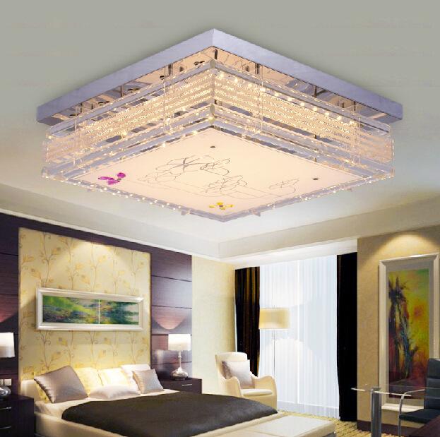 高档现代LED客厅卧室吸顶灯创意餐厅灯正方形水晶灯温馨浪漫灯具