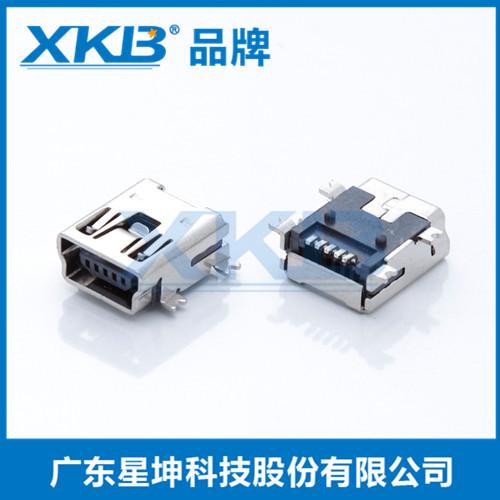 供应台湾星坤USB快充2.0母座 OPPO VIVO 5A大电流连接器 5P短体 插板90度