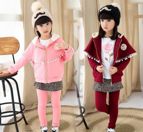 销售女童韩版秋装童套装儿童纯棉加绒加厚披肩豹纹裙裤厂家一件代发