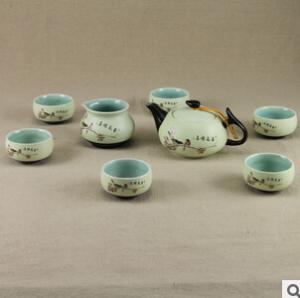 定窑茶具套装特价 亚光陶瓷茶具8件礼盒 厂家直销批发采购 茶壶