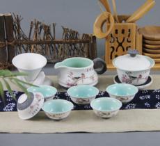 玉雪玲珑雪花釉茶具 整套盖碗功夫茶具套装 厂家直销批发高档礼盒