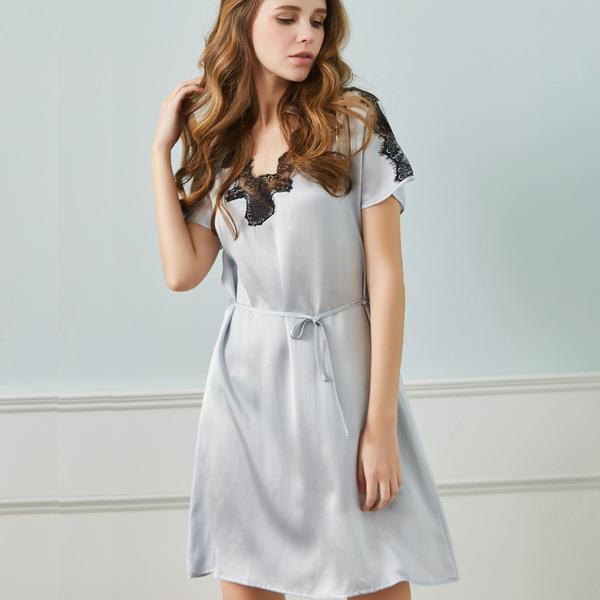 厂家直销 夏季舒适透气性感短袖真丝睡裙女士睡衣桑蚕丝睡衣女 睡袍