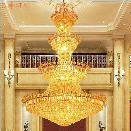 厂家批客厅吊灯 复式楼梯水晶吊灯 酒店别墅大厅黄色水晶大吊灯