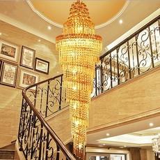 现货奢华别墅楼梯水晶灯 复式楼梯螺旋长吊灯 现代简约客厅大吊灯