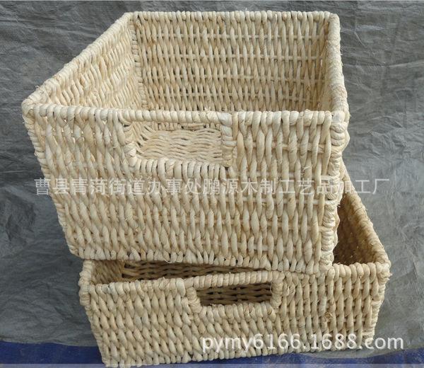 收纳篮子 藤编工艺长方形野餐篮置物篮实用外贸厨房用品定制