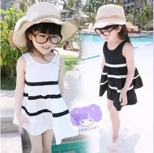 韩版童裙 2015夏季新款黑白掉带连衣裙 纯棉公主裙