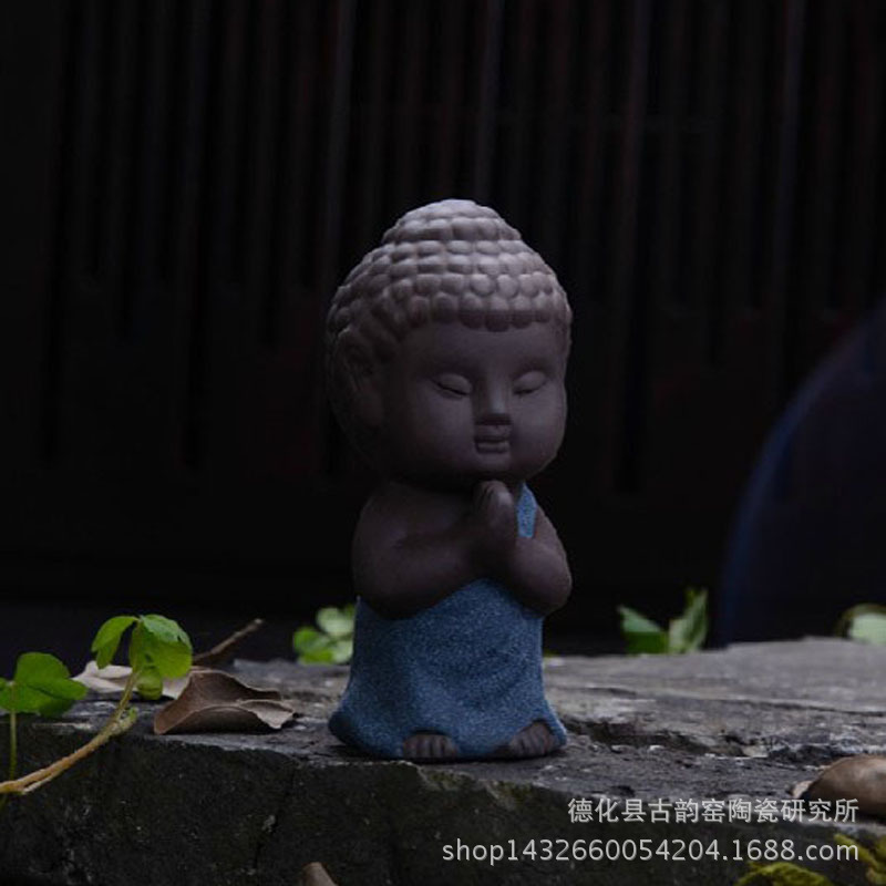 彩砂陶Q版小如来茶道紫砂茶宠人物工艺品摆件 工厂直销特价批发