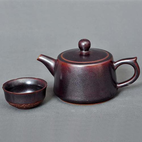 乾名钧窑钧瓷养生茶具井栏壶气烧工艺黑釉色