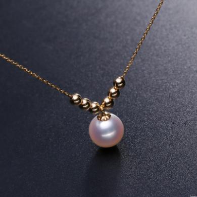 北海珍珠批发   卡诺辛蒂珠宝正圆强光淡水必发电子游戏18k金项链简约女款