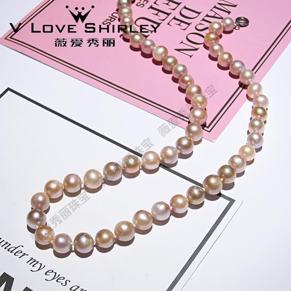 北海珍珠批發  薇愛秀麗淡水珍珠項鏈7-8mm饅頭型扁珠合金扁扣特價