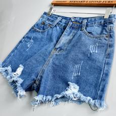 高腰牛仔裤学生短裤女夏季精品女装新款毛边宽松大码阔腿裤休闲裤