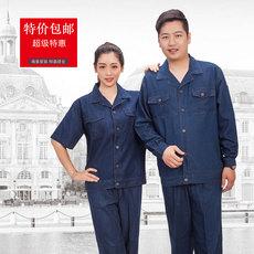 供应薄款纯棉牛仔短袖 长袖工作服套装 男女电焊服劳保服电焊工   短袖款